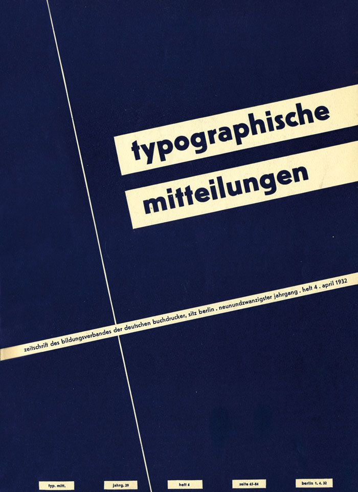 Cover Typographische Mitteilungen, 29. Jahrgang, Heft 4, April 1932.
