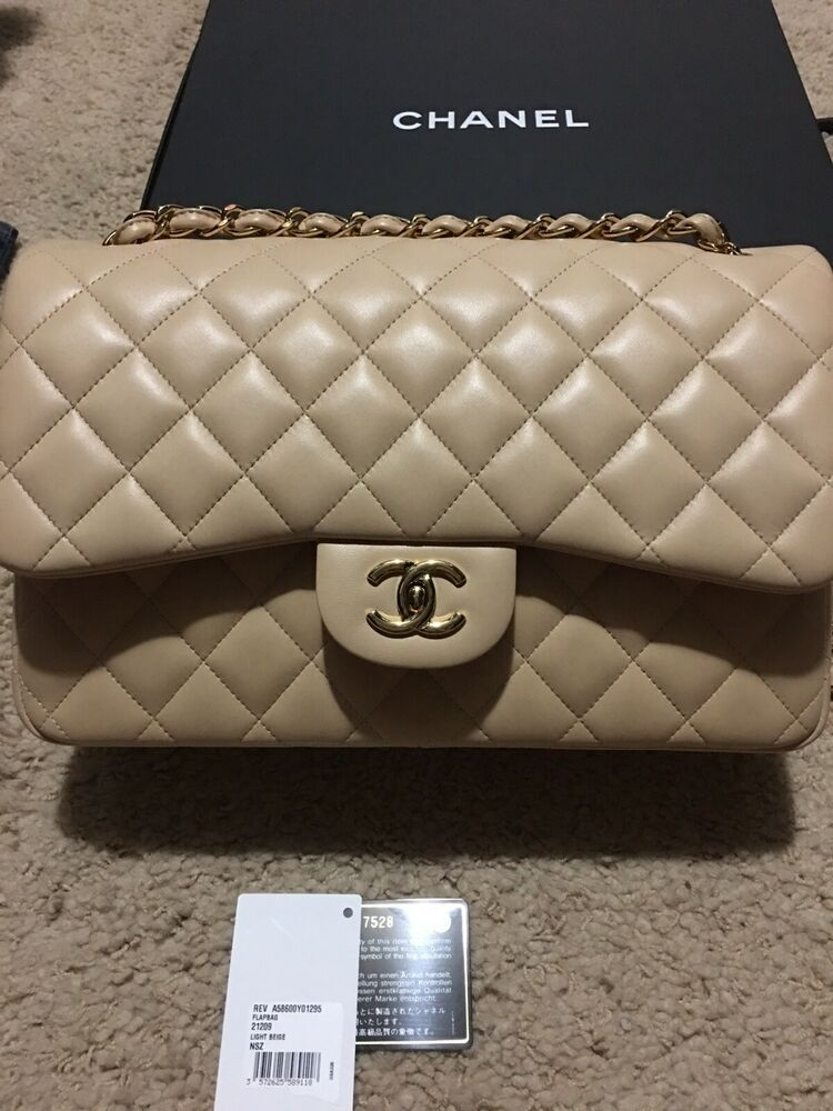 368be4e191a3 Stunning!!!!NWT Chanel Jumbo Lambskin double flap bag Beige Claire ...