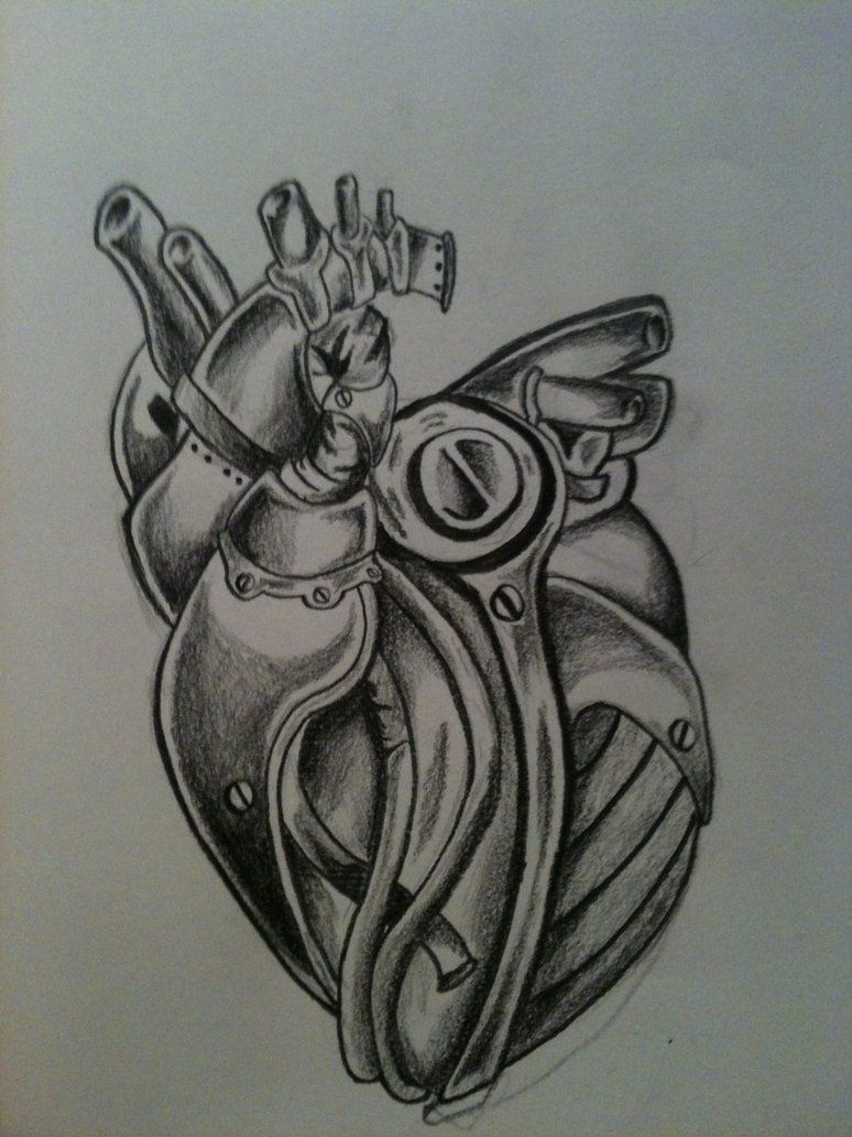 Mechanical Heart By Spudfurfy On Deviantart Heart Tattoo Nature Tattoos Heart Drawing