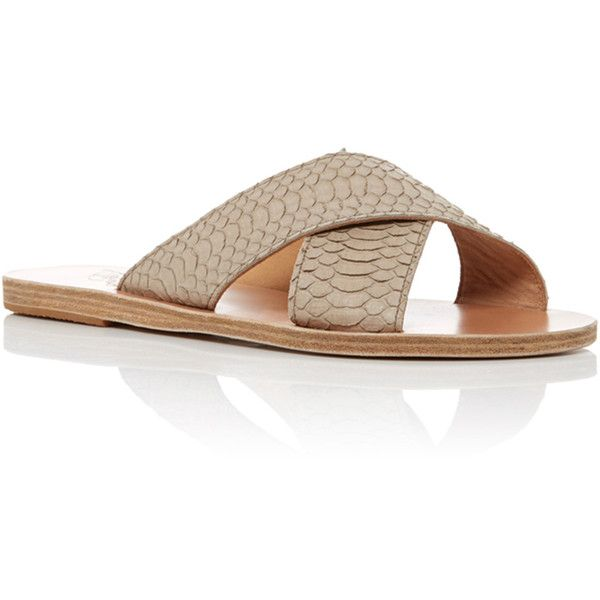 Ancient Greek Sandals Snake Thais Sandals (4.731.090 IDR) ❤ liked on Polyvore featuring shoes, sandals, light grey, slip on sandals, python shoes, slip-on shoes, slip on shoes and ancient greek sandals