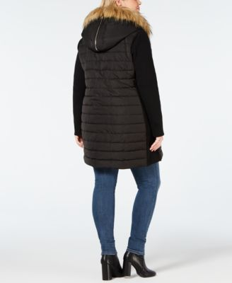 edc55cdffa Calvin Klein Performance Plus Size Faux-Fur Trimmed Hooded Walker Jacket -  Black 3X