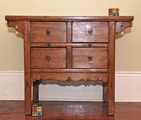 Chinese Antique Furniture, Shanxi Province China, Old coffer table modified  to have 4 drawers - Chinese Antique Furniture, Shanxi Province China, Old Coffer Table