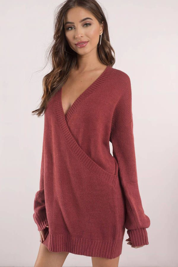 8e7745d7f43 Fall in love with the Winter Romance Oversized Sweater Dress. Featuring a  deep v and wrap front. Pair this sweater with patterned tights and boots.