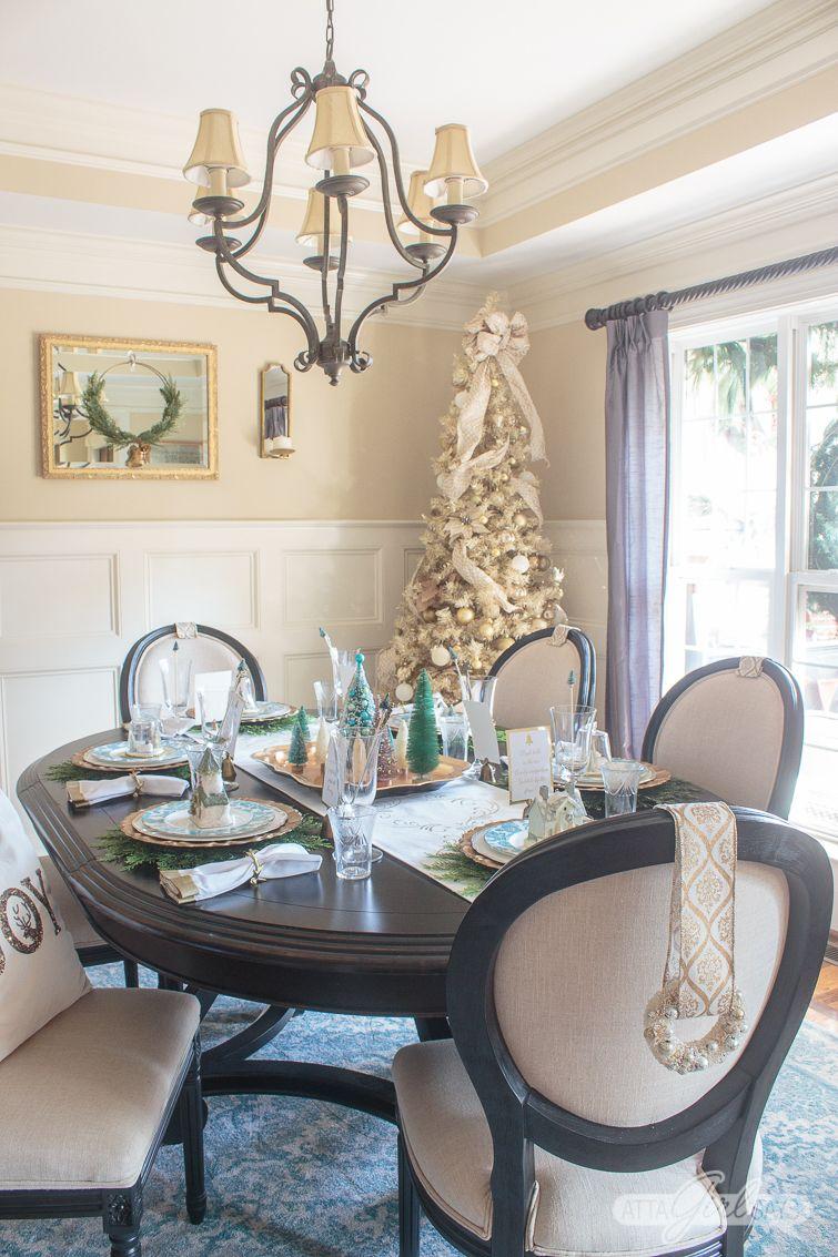 Elegant Gold Aqua Christmas Dining Room Decor