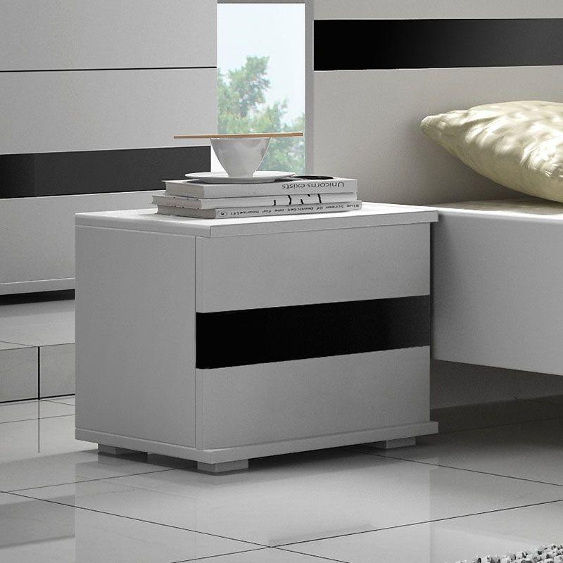 Table De Chevet Blanc Et Noir Laque Design Rimmel Meuble Rangement Table De Chevet Blanche Table De Chevet