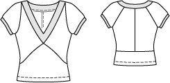 Cap Sleeve V Neck Tee 09/2014 #125 – Sewing Patterns   BurdaStyle.com