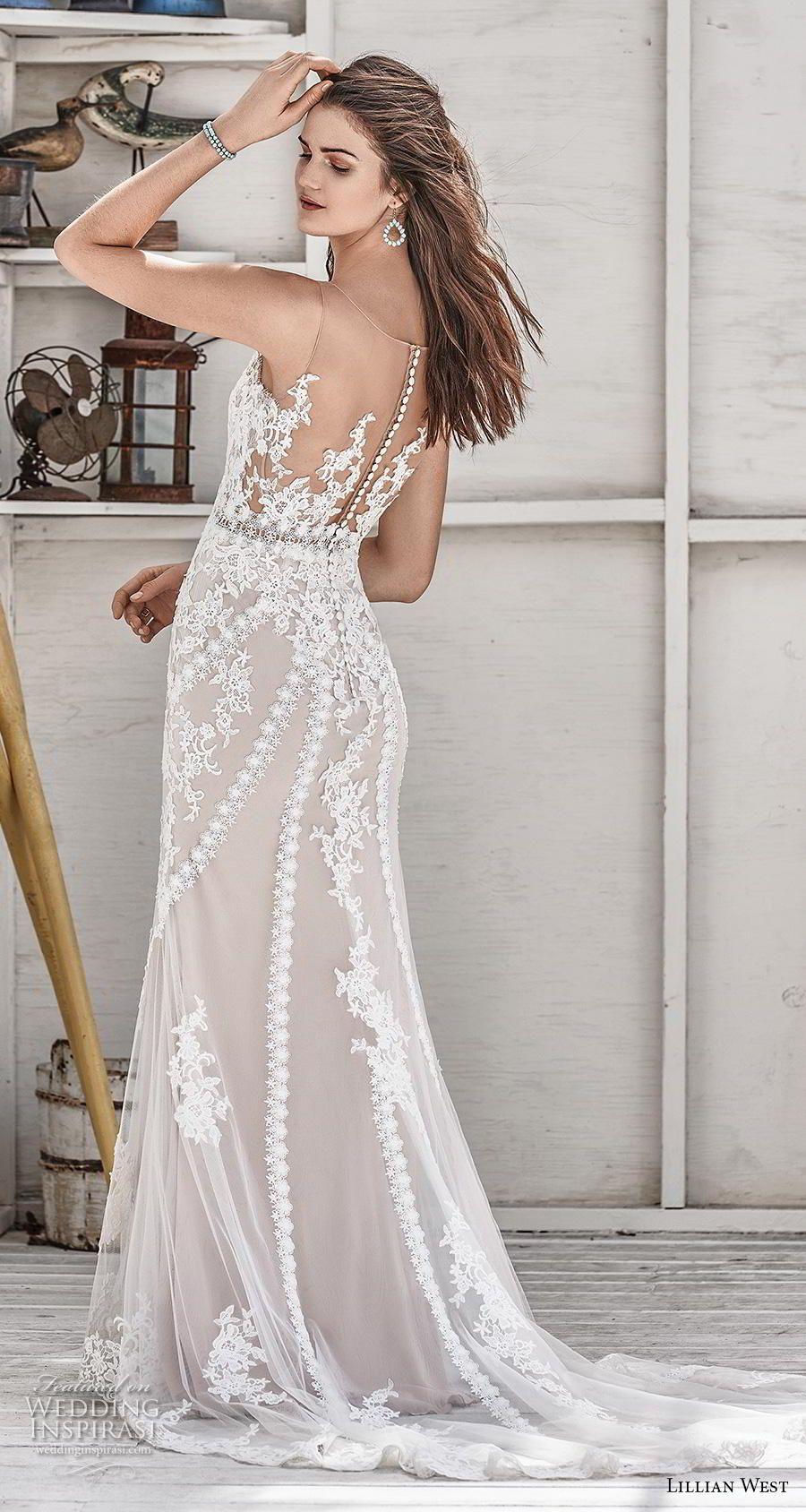 6302824c09 lillian west spring 2019 bridal sleeveless with strap v neck full  embellishment elegant blush fit and flare sheath wedding dress sheer button  back medium ...