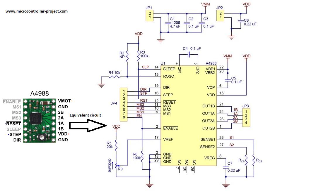 A4988 Stepper Motor Driver Equivalent Circuit Stepper Motor Microcontrollers Circuit Diagram