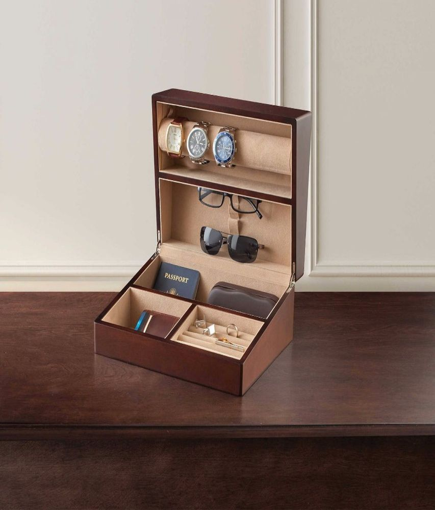 Mens Valet Jewelry Watch Box Wood Dresser Organizer Storage Wallet Rings Pen Mensvaletjewelry