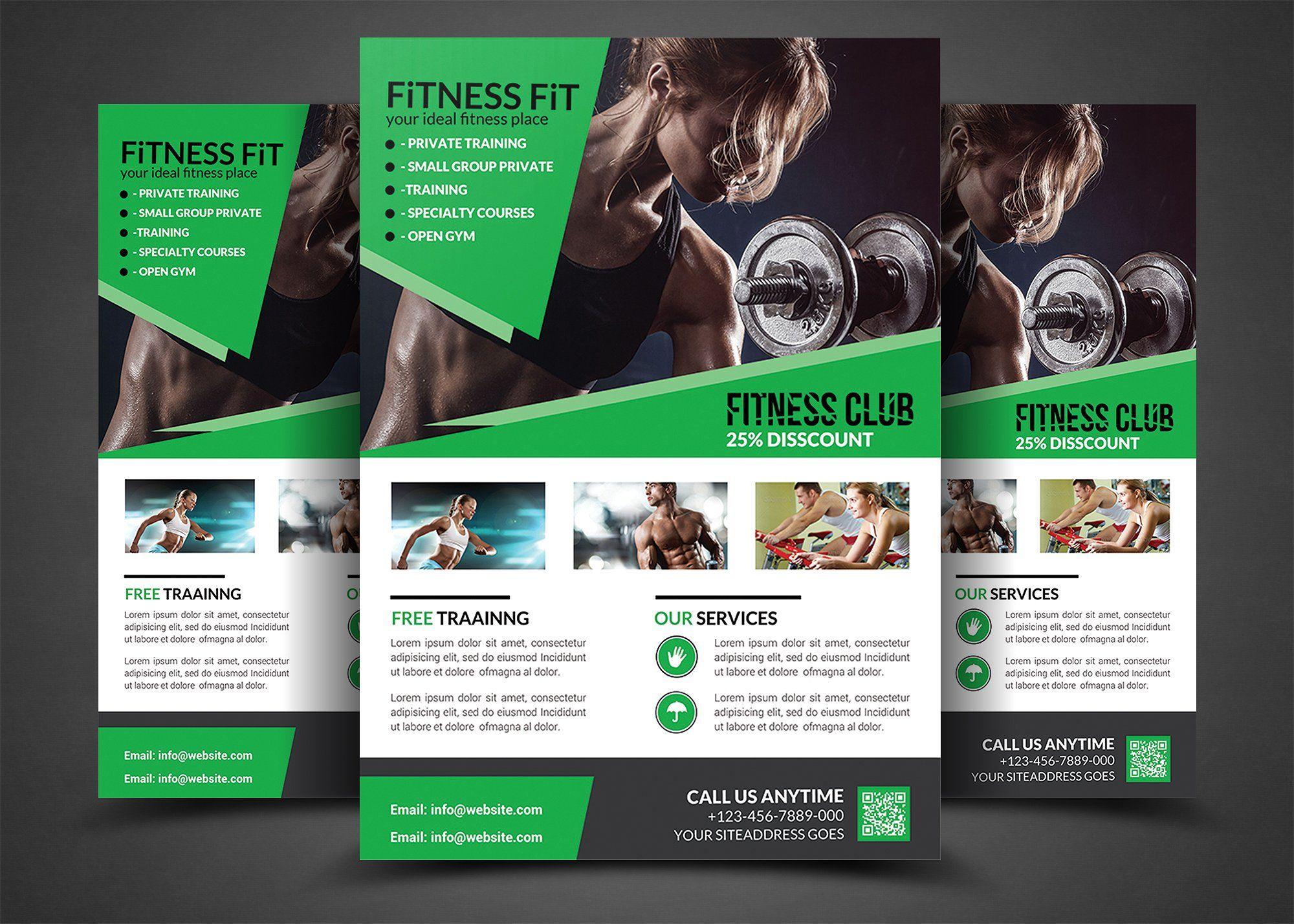Body Fitness Gym Flyer Bundle Flaery Dizajn