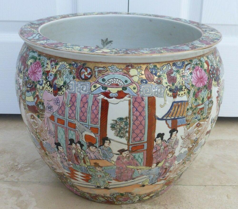 Vintage Chinese Famille Rose Medallion Porcelain Fish Bowl Planter