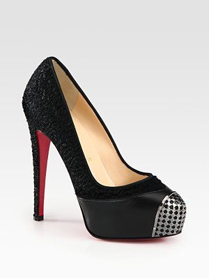 eed1d33430f Christian Louboutin Pony Hair and Metal Toe Platform Pumps