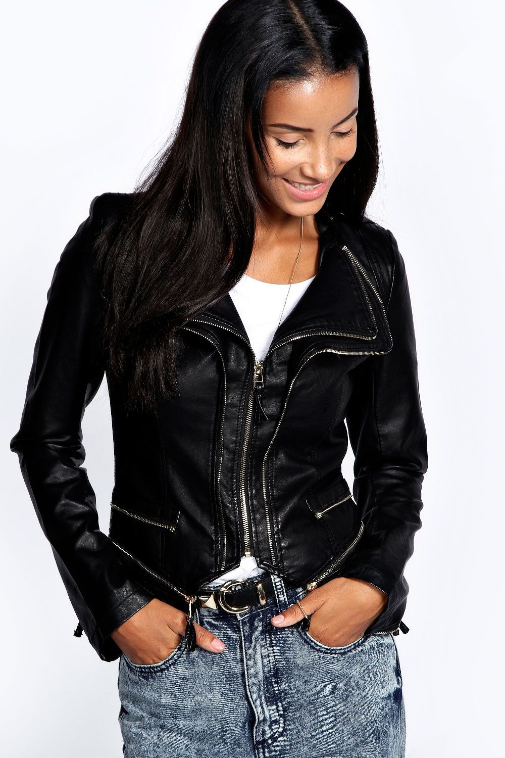 Corrine Fitted Faux Leather Jacket 44.00