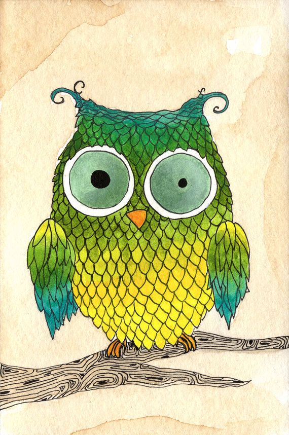 Ombre Owl 5x7 Print on Etsy, $10.00