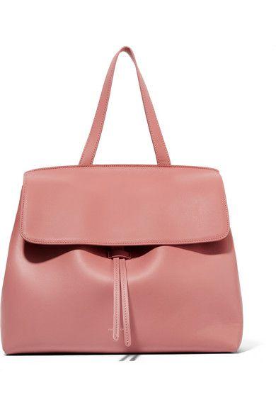 Antique-rose leather (Calf) Tab-fastening front flap Designer color: Blush Due…