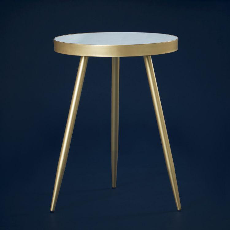طاولة زينة بطبعات من نوتيكال فويدج 45x45x61 سم ذهبي Table Side Table Decor