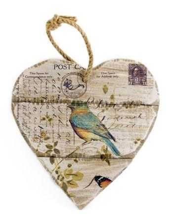 Hanging Heart - Botanical Carte Postale Rustic wooden Carte postale with bird and butterfly hanging heart plaque.  A super shabby chic addition to the home  Size - H20cm, W19cm