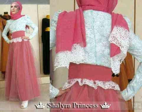 Dress muslimah modern brokat white.