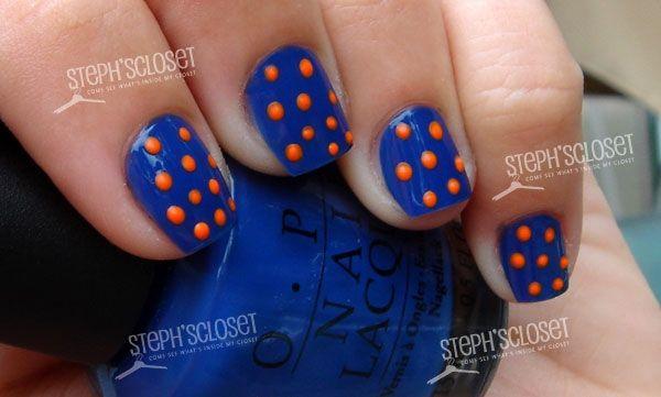 Blue Nail Polish With Orange Polka Dot Nail Art Nailart Manicure Pedicure Mani Pedi Nailpolish Polka Dot Nail Art Red Nails Nails