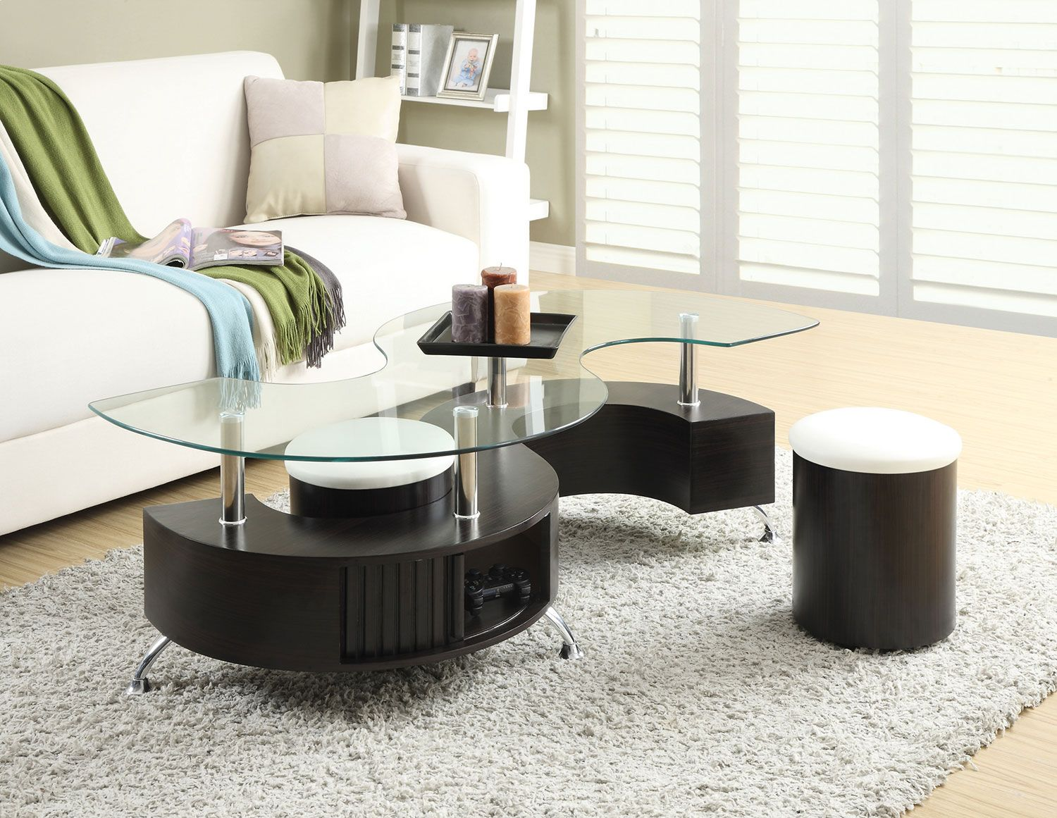 silver glass living room furniture%0A Storage and seating come standard with this sublime Seradala coffee table  and two ottomans set