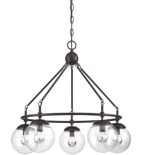 Purchase The 5 Light Industrial Mid Century Modern Argo Chandelier In English Bronze