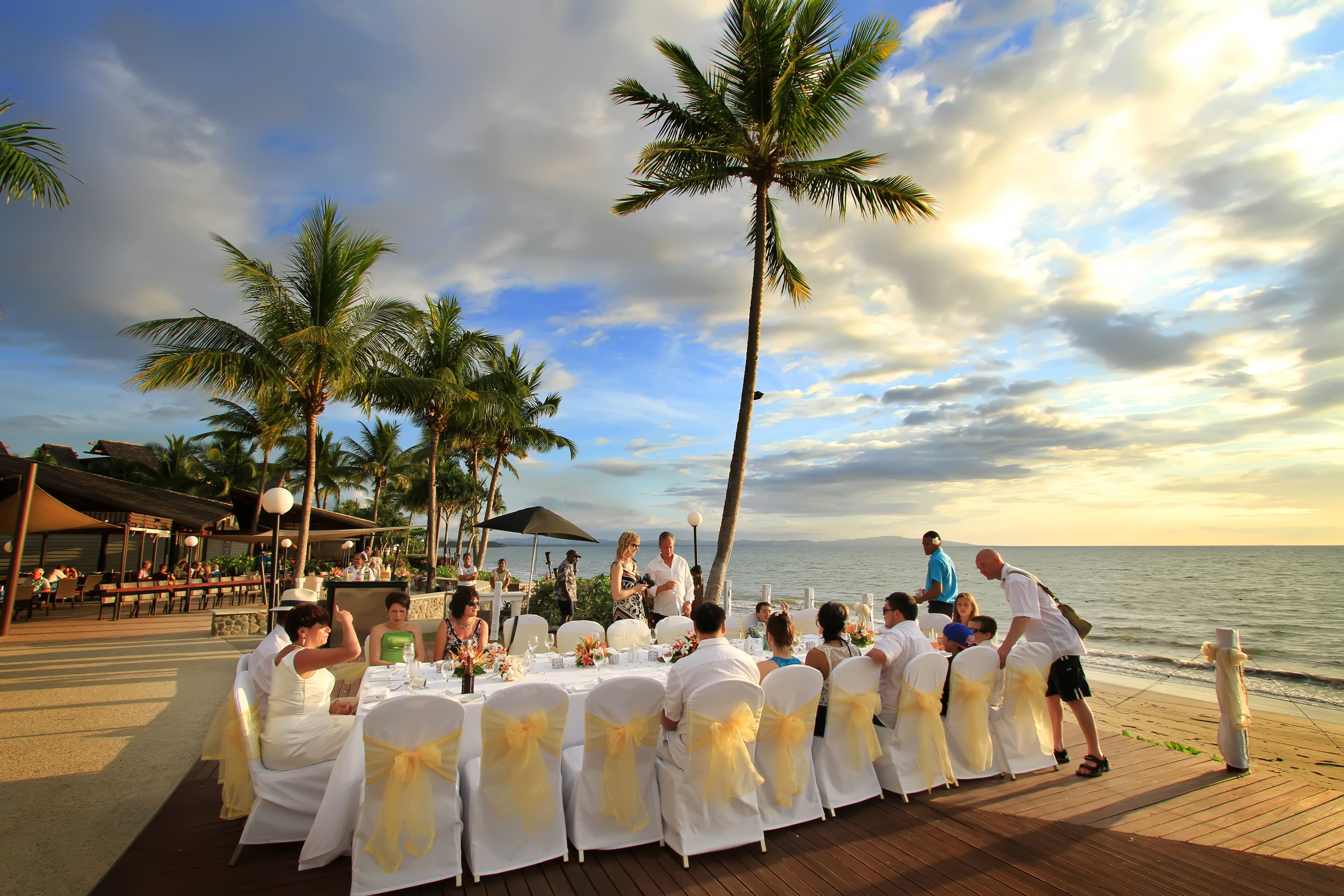 small beach wedding ceremony ideas%0A A small gathering reception setup at the Ocean Deck  Radisson Blu Fiji  Resort