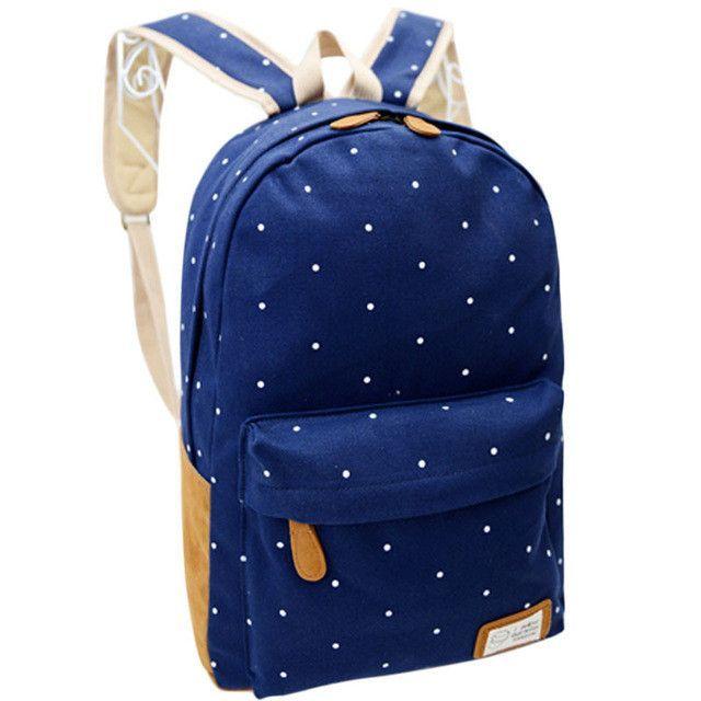 bb3562b7c Women Backpack for School Teenagers Girls Vintage Stylish Ladies Bag  Backpack Female Dotted Printing Casual Shoulder Bag New