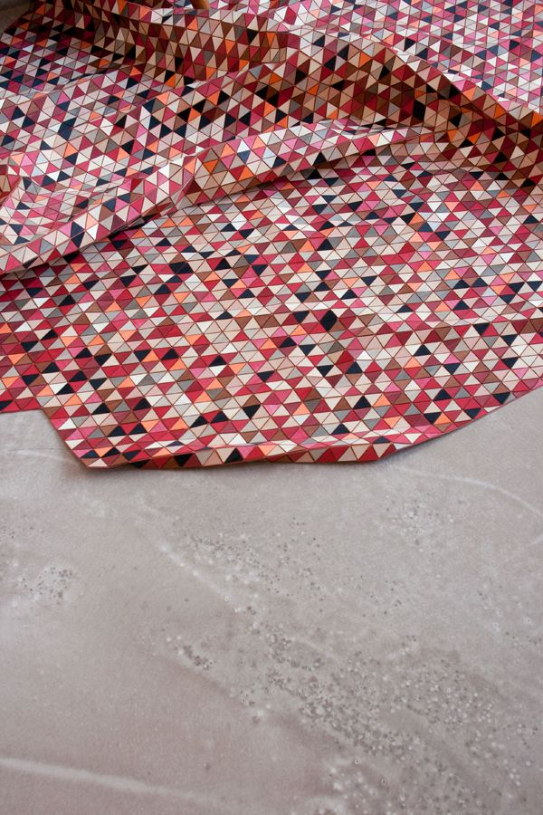 """ M O S T L Y R E D "", 2011  wooden rug with dyed wood"