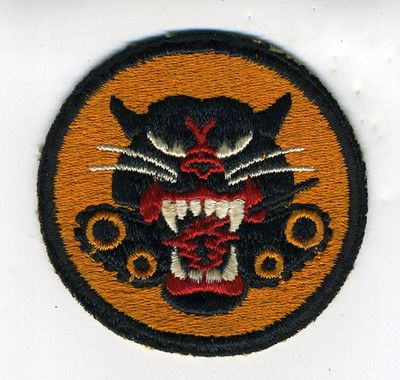 WWII US Army Tank Division Patch with Growling Cat and Tank Wheels