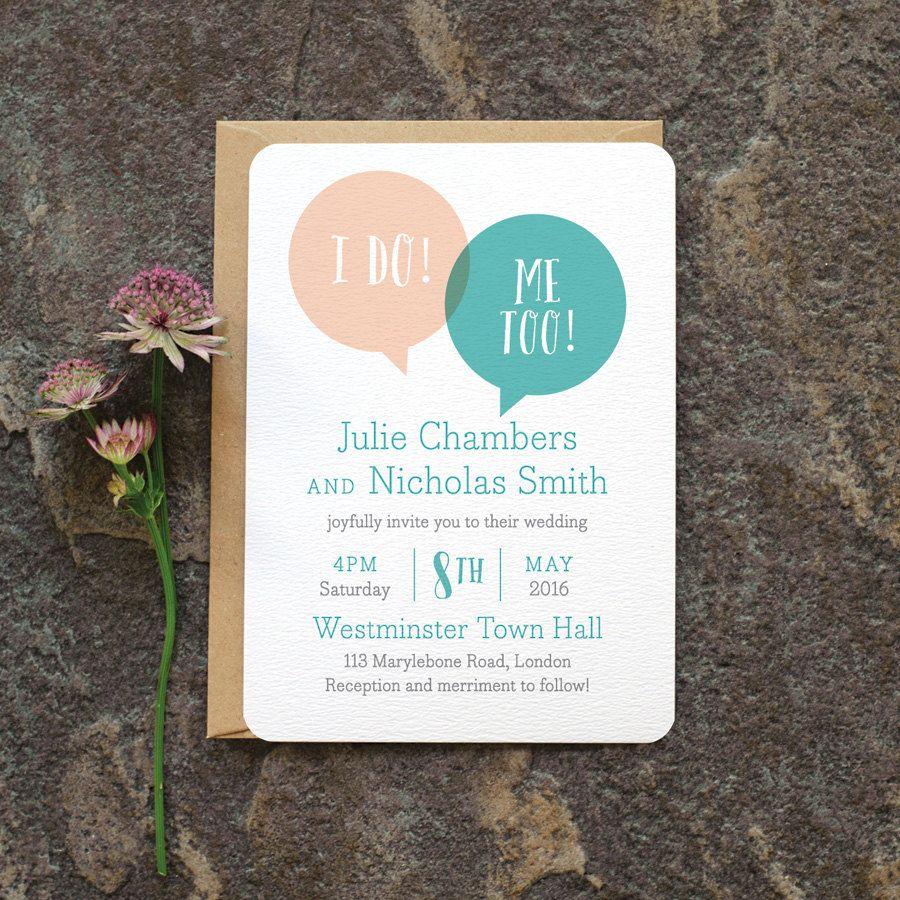 modern wedding invitation wording examples%0A Fun Modern Wedding Invitation    u    Speech Bubble u     We Do Minimal Wedding Invite    Blush