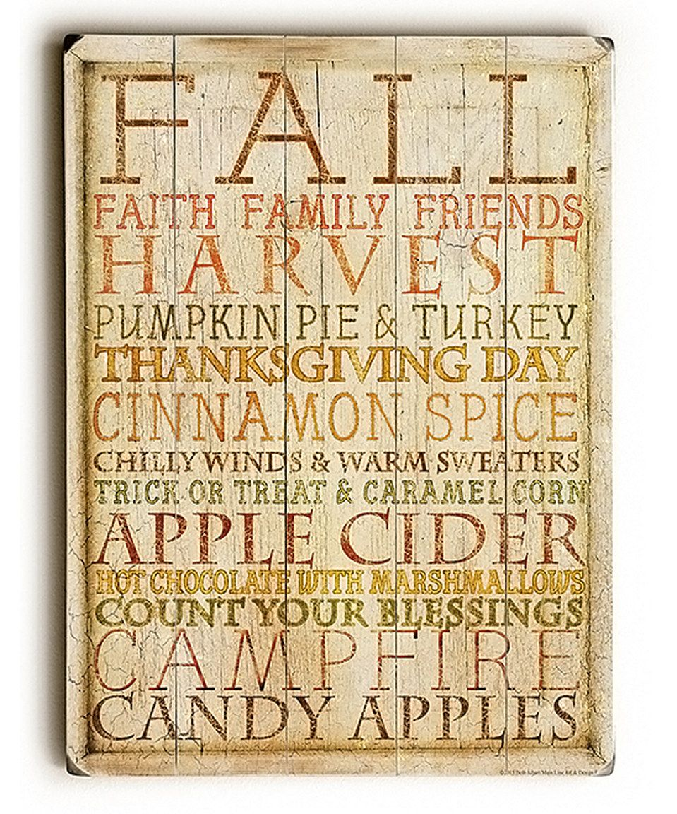 Another great find on #zulily! Fall Art Wood Wall Art by ArteHouse ...
