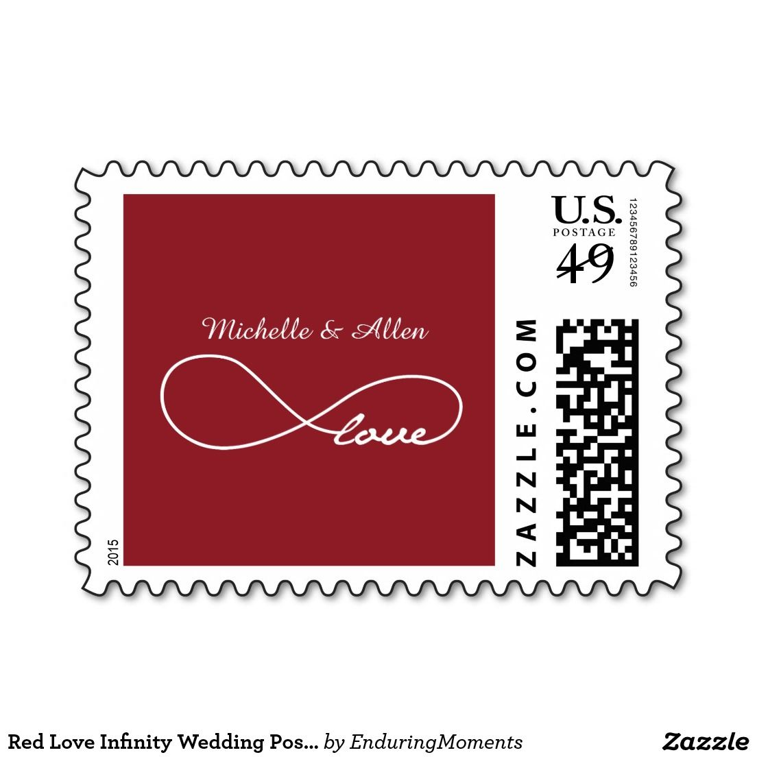 Red Love Infinity Wedding Postage Stamps | Love Stamps - Custom ...