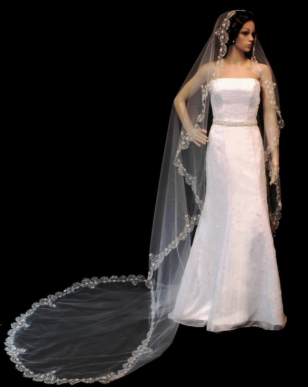 Beaded Silver Embroidery Royal Cathedral Length Wedding Veil