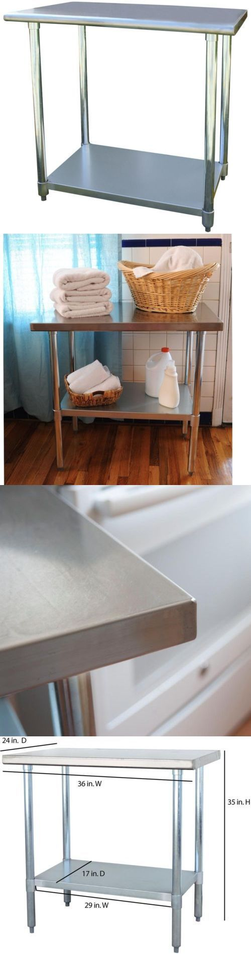 Kitchen Islands Kitchen Carts 115753: Stainless Steel Kitchen Utility Table  36 Home Garage Laundry Room