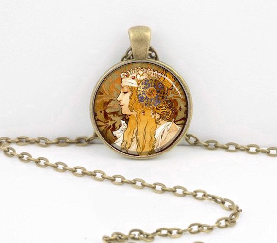 Art Nouveau Alphonse Mucha Girl Art Pendant Necklace Inspiration Jewelry or Key Ring by northstarpendants. Explore more products on http://northstarpendants.etsy.com