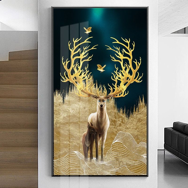 Nordic Modern Golden Canvas Painting Picture And Print Poster For Living Room Wall Art Black White Decoration Bedroom Home Decor Tree Painting Canvas Modern Canvas Painting Bird Paintings On Canvas