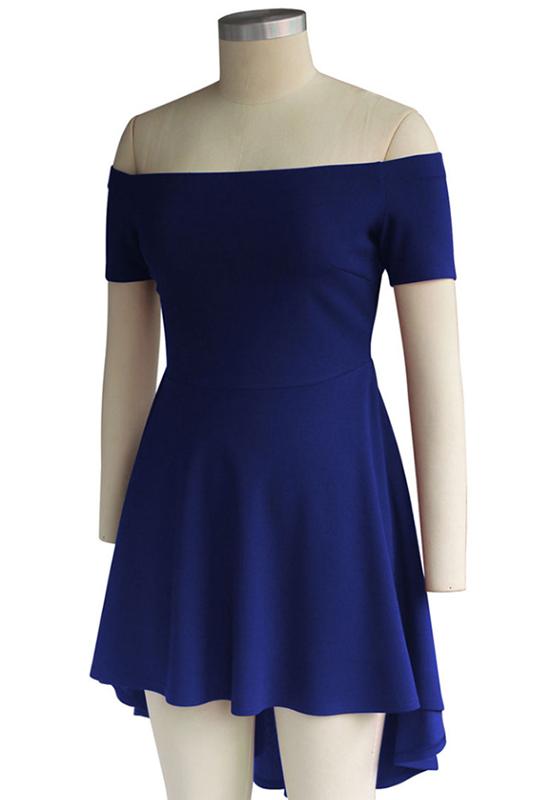 Royal Blue Off-Shoulder High-low Boat Neck A-Line Swallowtail Short Sleeve  Skate Dress - Mini Dresses - Dresses 5c13316f6