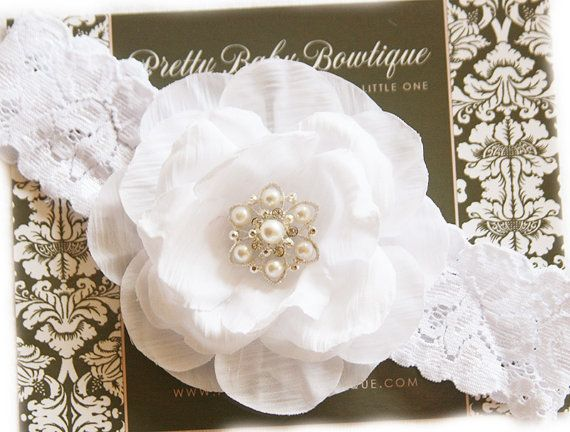 Newborn headband white christening headband baby girl - Diademas de encaje ...