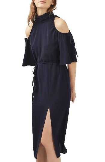355dbc767dfd02 Free shipping and returns on Topshop High Neck Cold Shoulder Dress at  Nordstrom.com. Tied drawstrings elegantly gather the open shoulders of a  breezy midi ...