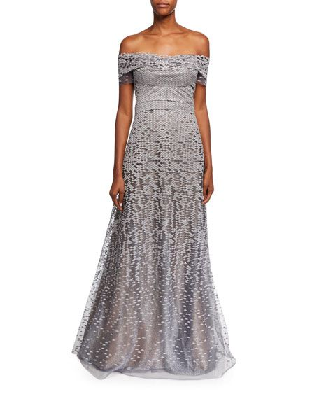 291deab6fe2 Off-the-Shoulder Embellished Tulle Evening Gown by Rene Ruiz at Neiman  Marcus