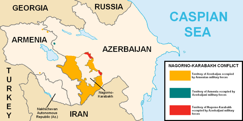 Map Of Nagorno Karabak Surrounding Countries Of Azerbaijan Iran