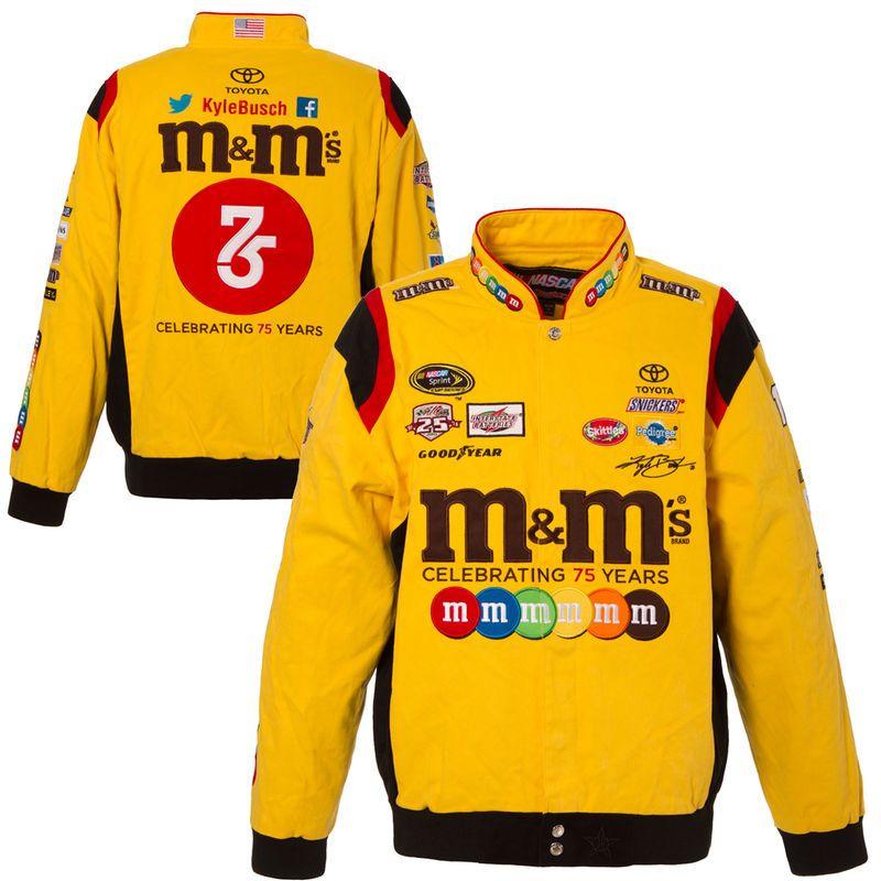 kyle busch jh design m m s color twill jacket yellow kyle busch