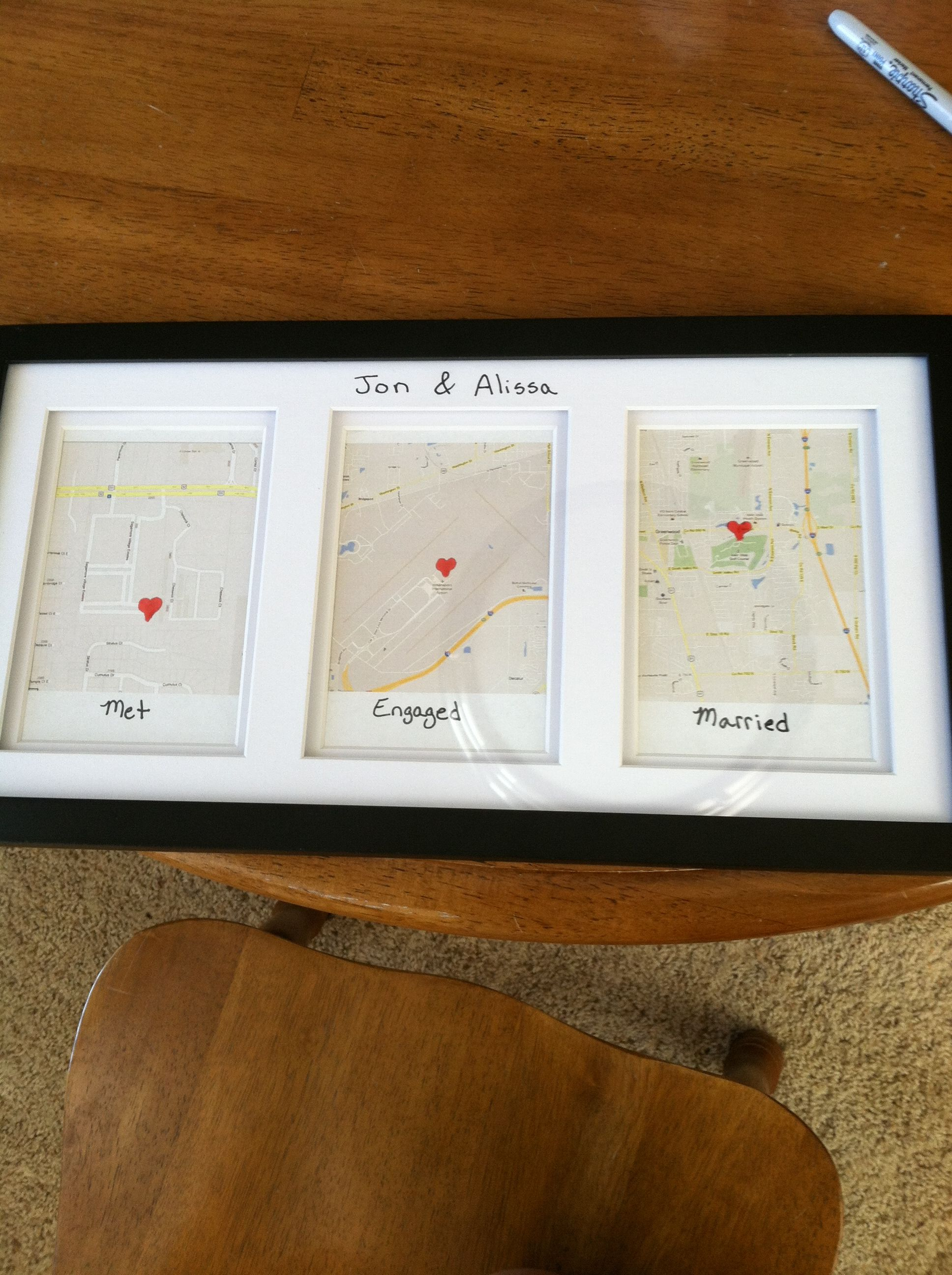 couples bridal shower gift ideas%0A super cute wedding present  google maps where you met  got engaged  and  married    Wedding GiftsWedding