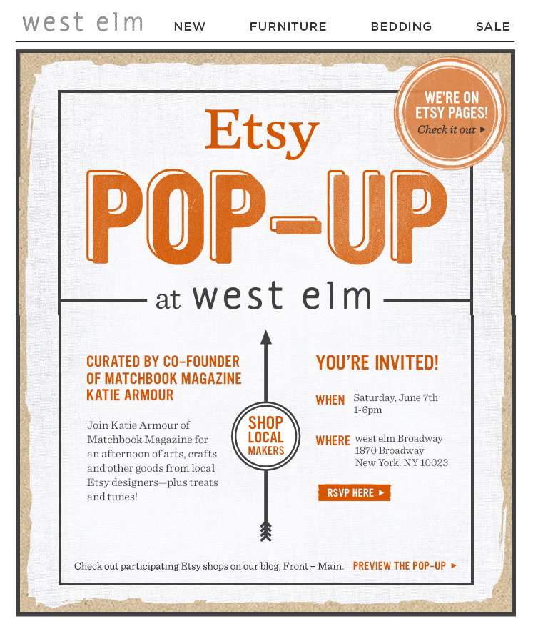West Elm Event Invitation Email Subject Line YouRe Invited