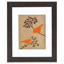 "Equally at home in an artful collage or on its own as an eye-catching focal point, this hand-pressed burlap print showcases a vintage-inspired bird motif. Made in the USA.  Product: Framed printConstruction Material: Solid ash wood, burlap and crescent mat boardColor: Black and brown frameFeatures:  HandmadeMade in the USADimensions: 20"" H x 16"" WCleaning and Care: Avoid direct sunlight"