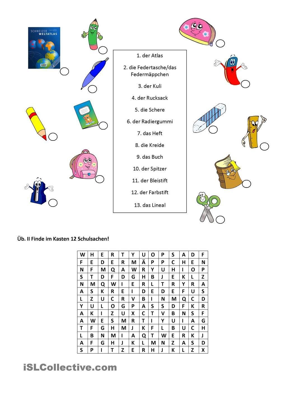 Schulsachen  Schulsachen, Deutsch lernen kinder, Schule