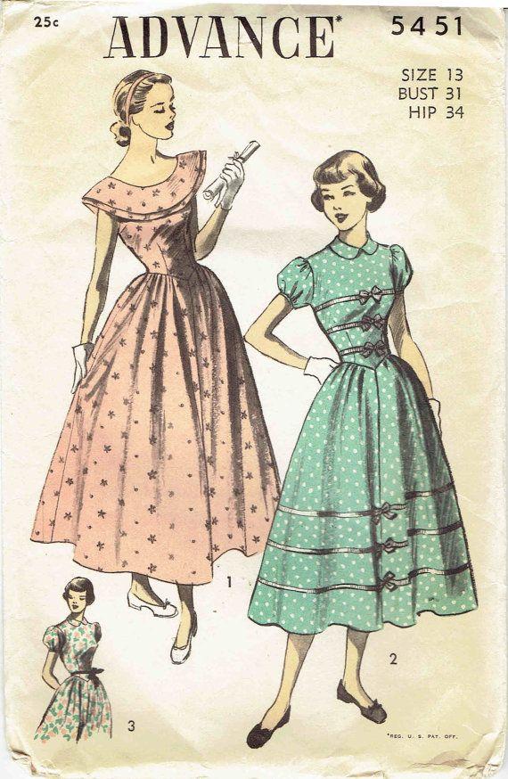 50s Formal Dress Pattern Advnace 5451: Ballet Length or Street ...