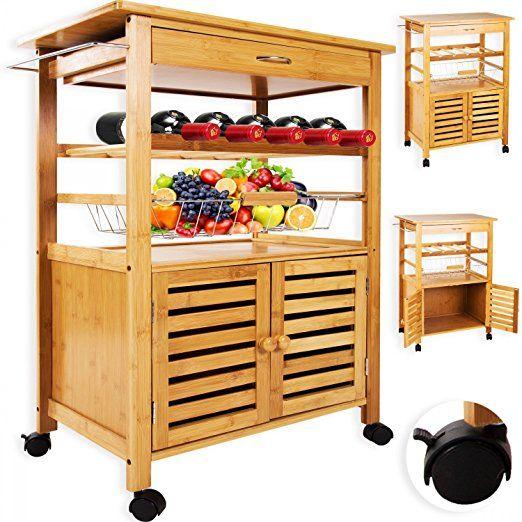 Kesser Bambus Küchenwagen Küchenschrank Beistellwagen Servierwagen Bambus  Stauraum | Stabil 2 Modelle   Küche Wagen Küchenwagen