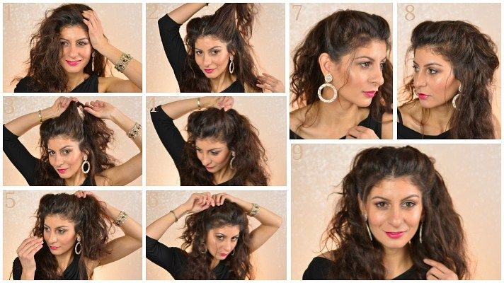 Easy Hairstyles For Curly Hair To Do At Home Health Issue Chez Rama Curly Hair Styles Hair Styles Valentine S Day Hairstyles