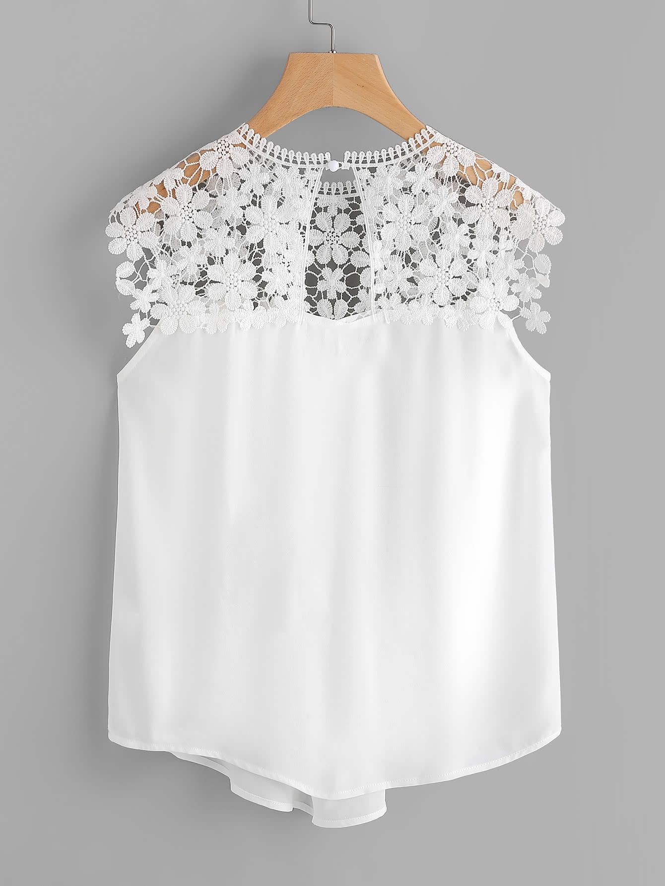 9468e77b6d4eb Shop Keyhole Back Daisy Lace Shoulder Shell Top online. SheIn offers  Keyhole Back Daisy Lace Shoulder Shell Top   more to fit your fashionable  needs.
